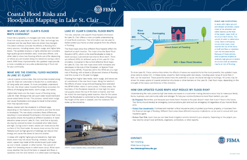 Great Lakes Coastal Flood Study: Coastal Flood Risks and Floodplain Mapping in Lake St. Clair Fact Sheet